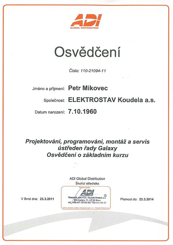 Certificates Elektrostav Koudela A S Eks