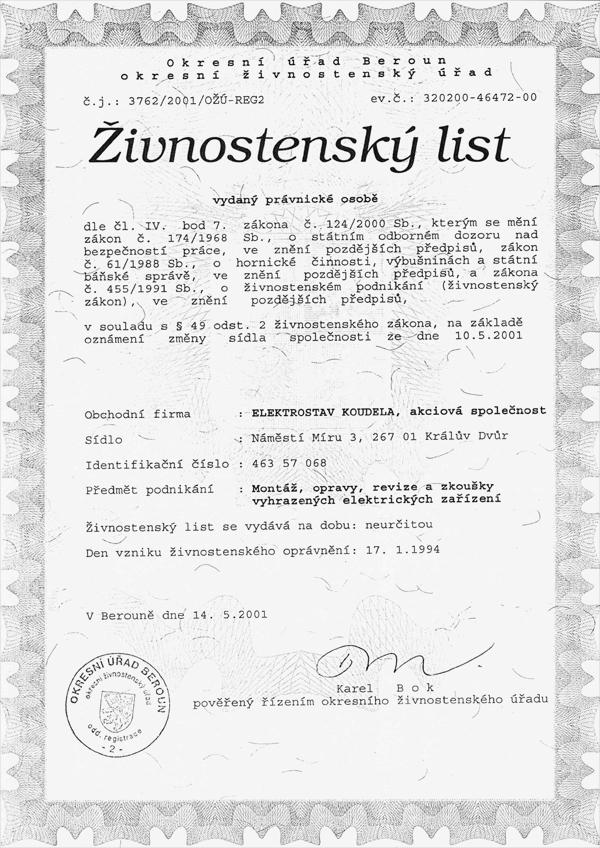 Certificates Elektrostav Koudela As Eks